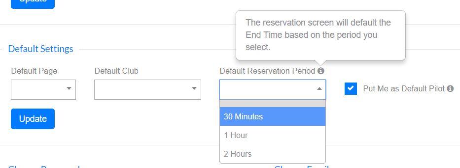 Pilot Schedule Software - User Settings
