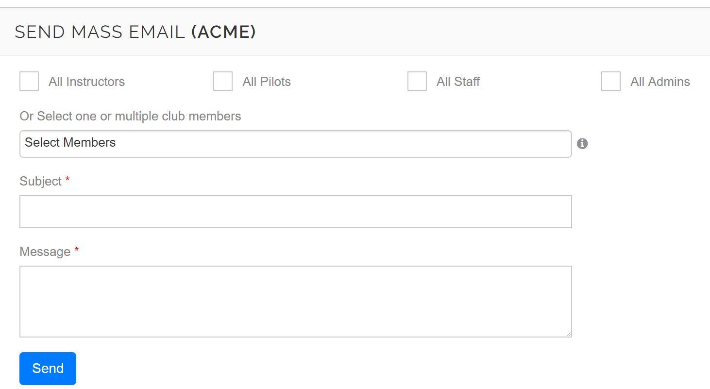 PilotSchedule Mass Email Screen